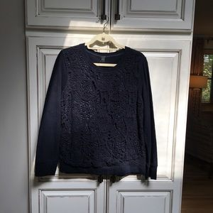 J. Crew Women's Sweatshirt With Lace Inset NWT